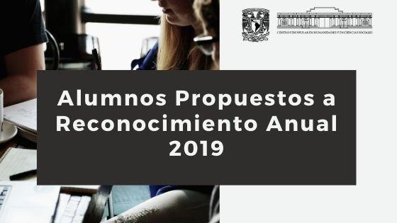 Alumnos Propuestos a Reconocimiento Anual 2019